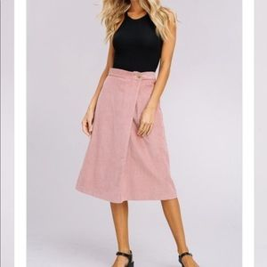 Blush Corduroy Midi Skirt